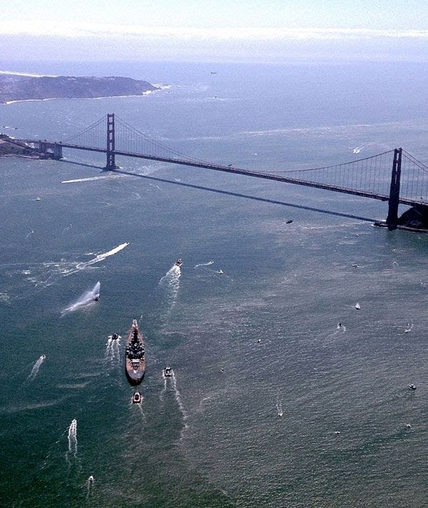 The USS Iowa approaches the Golden Gate Bridge as the battleship embarks on a final trip to SoCal, on May 26, 2012.