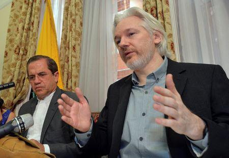 WikiLeaks founder Julian Assange speaks during a news conference at the Ecuadorian embassy in central London