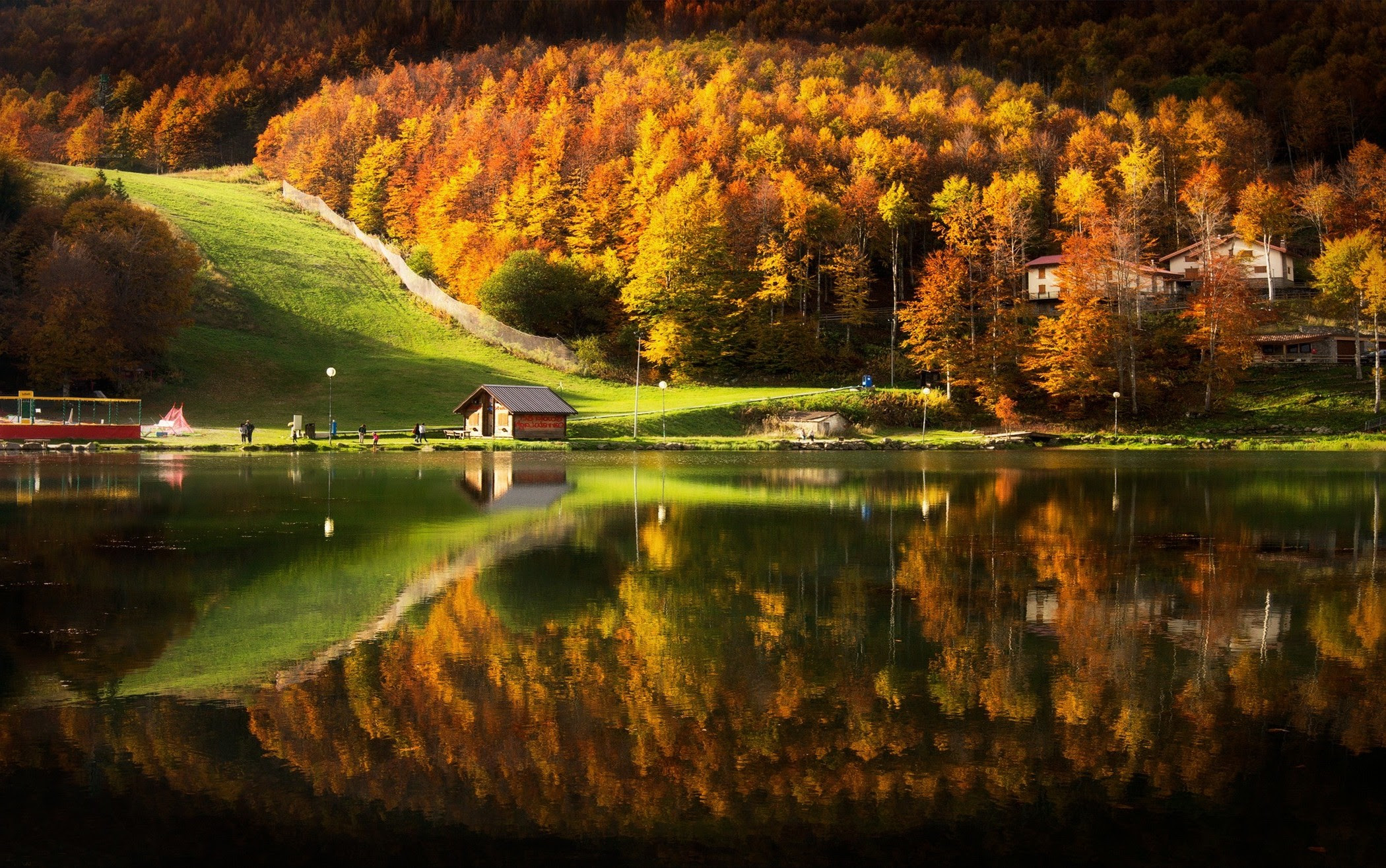 Nature Landscape Lake House Cabin Mountain Forest Fall