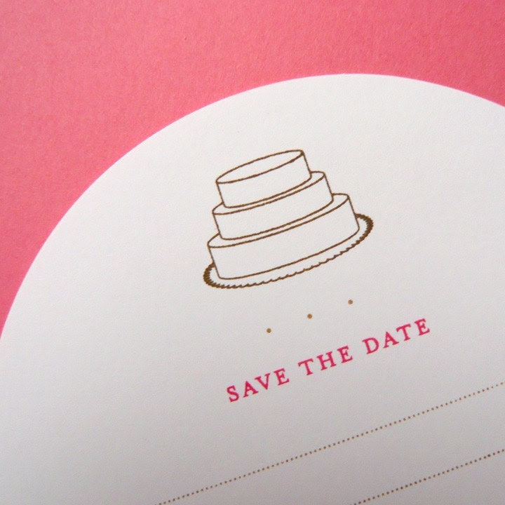 hand-printed wedding save-the-date flat circle cards