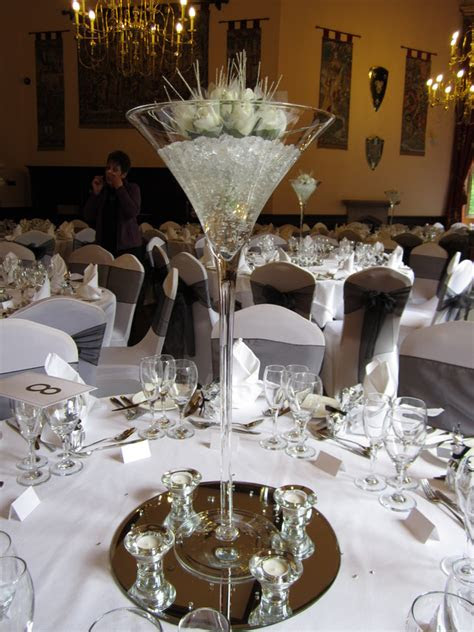 martini glass centerpieces  weddings
