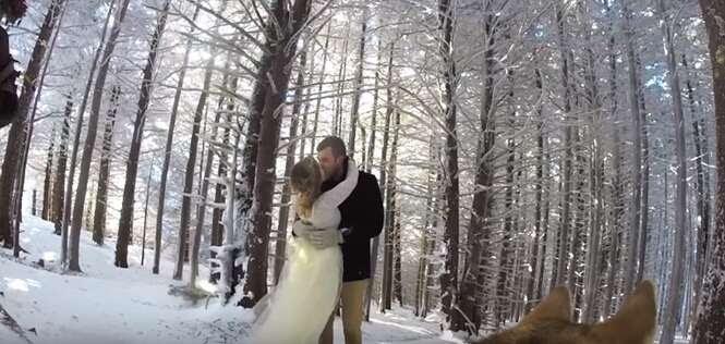 """Casal """"contrata"""" cão para filmar seu casamento e resultado é surpreendente"""