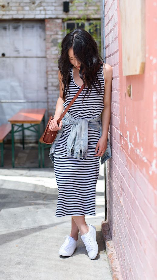Le Fashion Blog 3 Striped Dresses Everlane Striped Tank Dress Sneakers Via The Fancy Pants Report