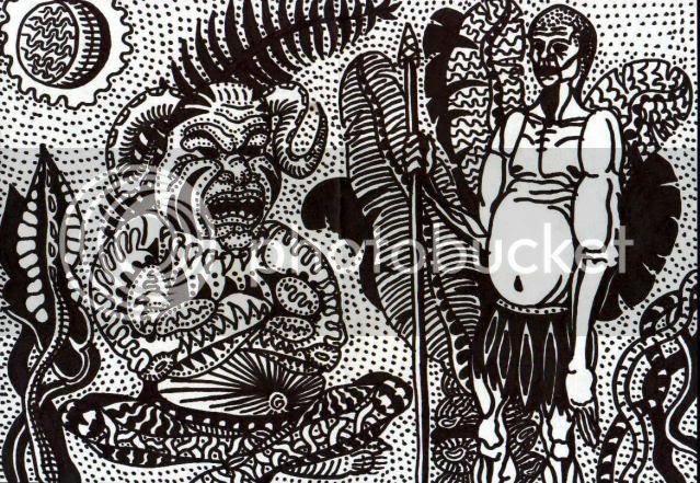 Амазонский дикарь и божество. Графический рисунок.