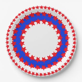 Paper Plate with Patriotic Colors 9 Inch Paper Plate