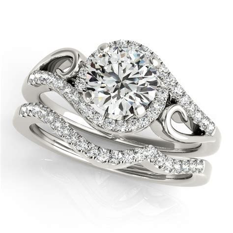 Two Tone Split Shank Diamond Engagement Ring