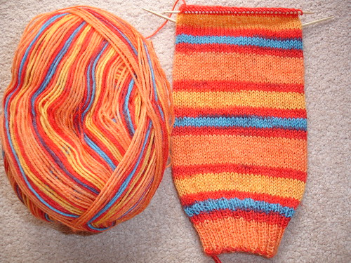Michael's summery stripy socks WIP 001