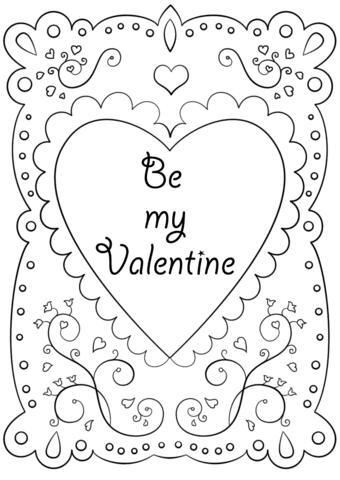 Dibujo De Tarjeta De San Valentín Sé Mi Valentín Para Colorear