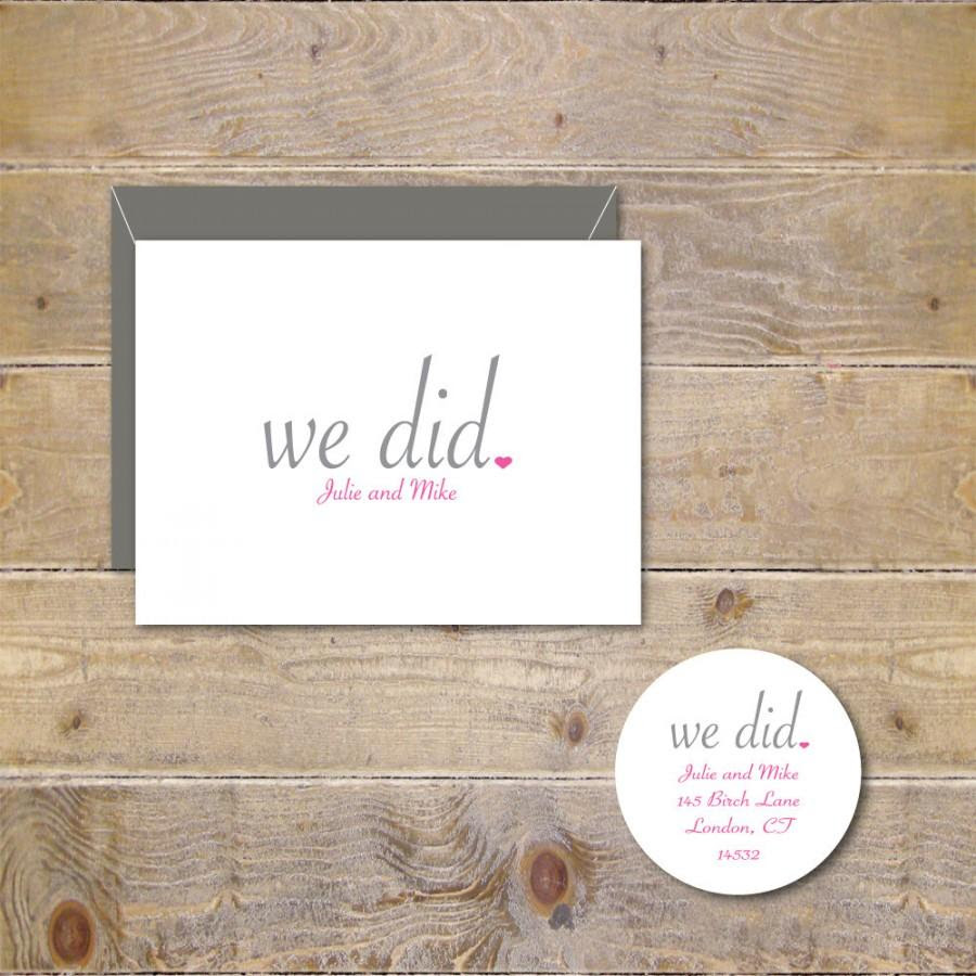 Wedding Thank You Cards We Did Just Married Rustic Wedding Cards