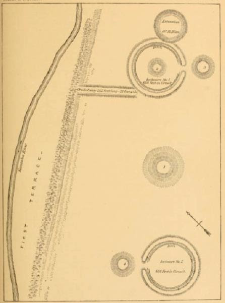 Charleston, W.V. earthworks. 5th Annual Report of the Bureau of Ethnology. Courtesy of Archive.org. Enclosure #1 is the large ring in the top half of the map, while Enclosure #2 is the large ring in the bottom half.