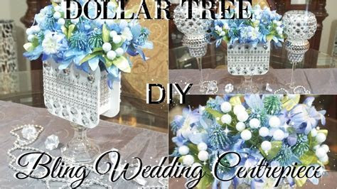 DIY DOLLAR TREE WEDDING OR BRIDAL SHOWER BLING CENTERPIECE