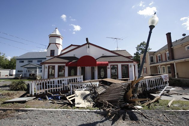 Zerega's Pizzaria suffered major damage from the flood cause by Tropical Storm Irene, Tuesday, Aug. 30, 2011 in Windham, N.Y. Officials say more than a dozen towns in Vermont and at least three in New