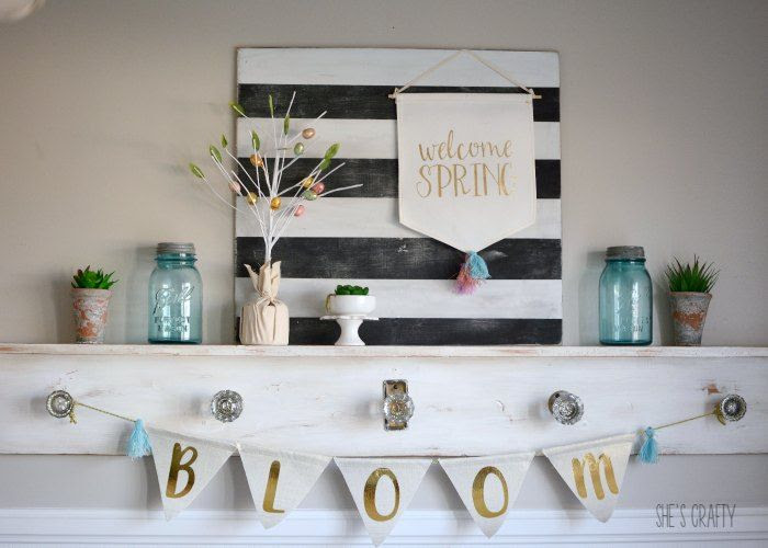 easter mantel, farmhouse easter decor, Spring decorations