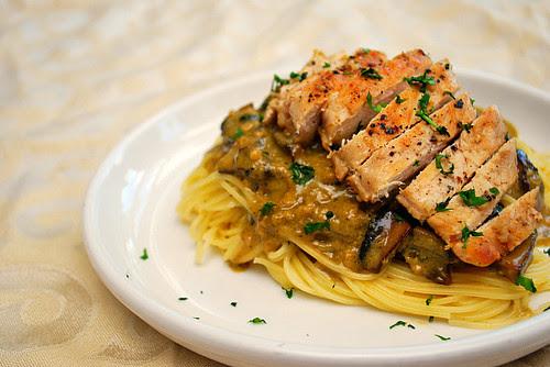 Chicken with Pesto Mushroom Cream Sauce