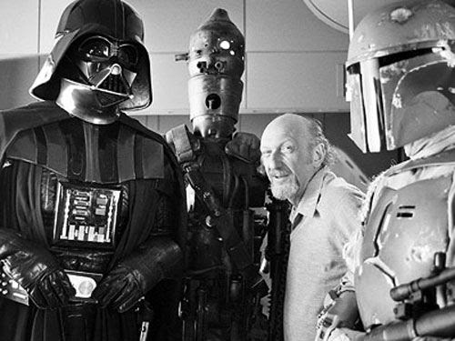 Irvin Kershner with the villains of THE EMPIRE STRIKES BACK, which Kershner directed.