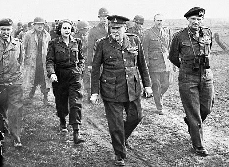Battling on: Churchill knew the D-Day battle marked the end of Britain's - and his own - supremacy on the world stage
