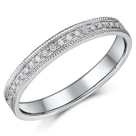 3mm 9ct White Gold 10 Point Milgrain Diamond Ring