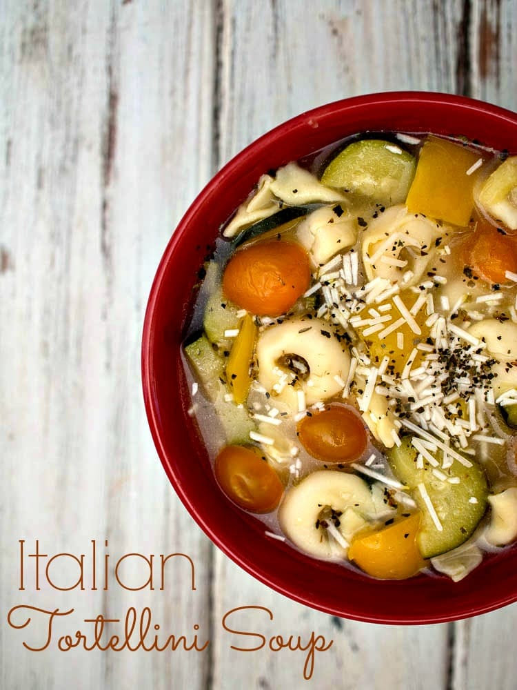 Italian Tortellini Soup - a quick and easy meal for busy weeknights.  Perfect for a meatless Lenten recipe.