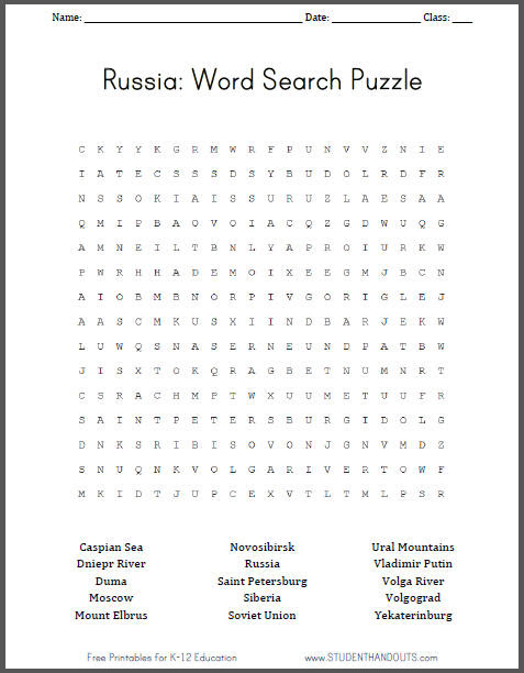 Russia - Free Printable Word Search Puzzle | Student Handouts