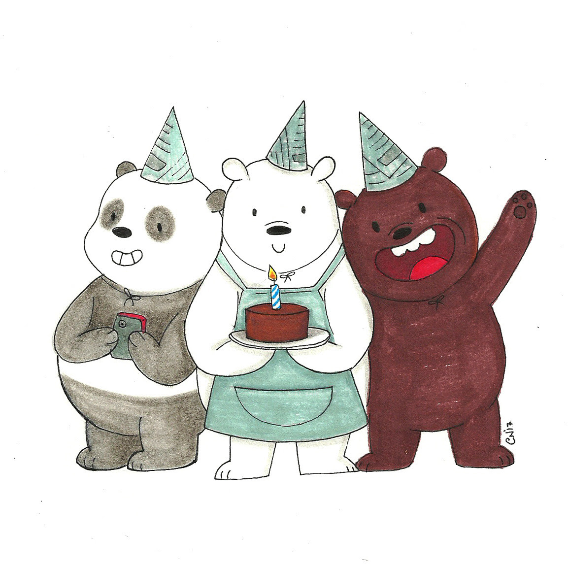 Birthday card I made for my best friend who loves We Bare Bears! Prints and more in my shop!