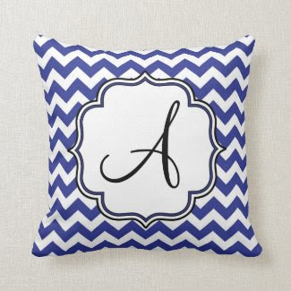 Dark Blue Chevron Monogram Throw Pillows
