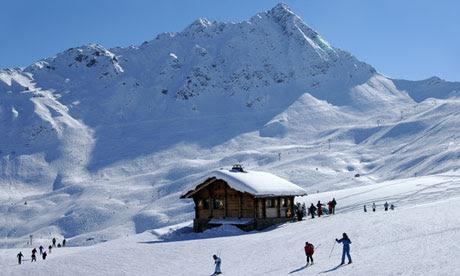 Skiing on the alpine slopes near Chamonix