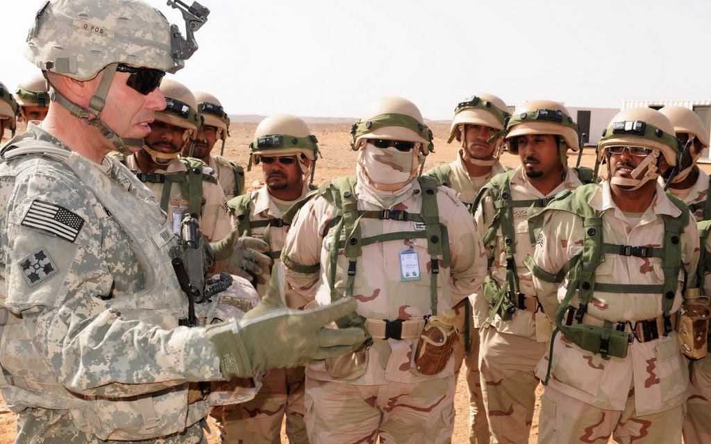 U.S. and Saudi troops engage in a joint training exercise in Saudi Arabia. The Pentagon announced last Friday that, for the first time, U.S. boots are officially on the ground on Yemen. (U.S. Army Photo)