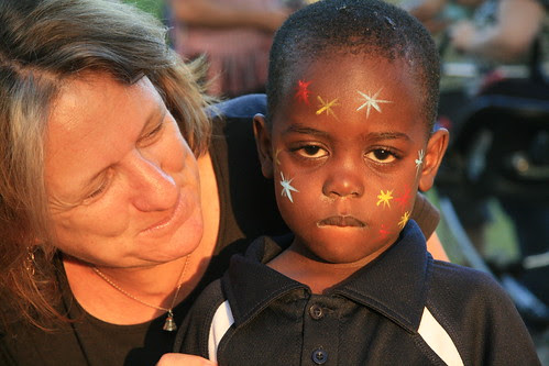 Jeanette with young boy she had face painted
