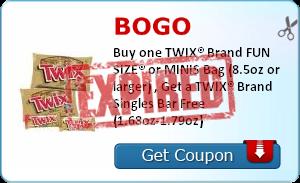 BOGO    Buy one TWIX® Brand FUN SIZE® or MINIS Bag (8.5oz or larger) , Get a TWIX® Brand Singles Bar Free (1.68oz-1.79oz)