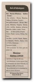 notice décès de Mathieu Lovichi et remerciements
