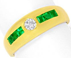 Foto 1, BRILLANT-BANDRING SUPER-SMARAGD-CARREES 18K GOLD LUXUS!, S6770