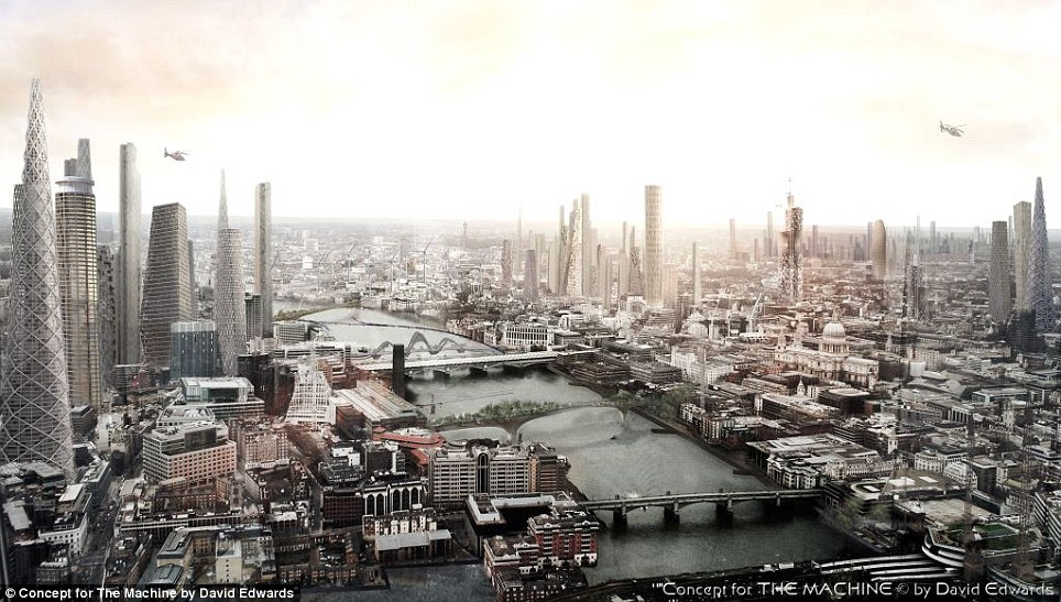 Following reports London is set to get a staggering 250 new high rises and skyscrapers over the next decade, a British architect has created his own vision of the capital's future, pictured. In David Edwards' concept designs, wind turbines are built on the Thames, Waterloo Bridge is transformed into a garden and The Shard is upstaged by a series of pointed skyscrapers all over the city
