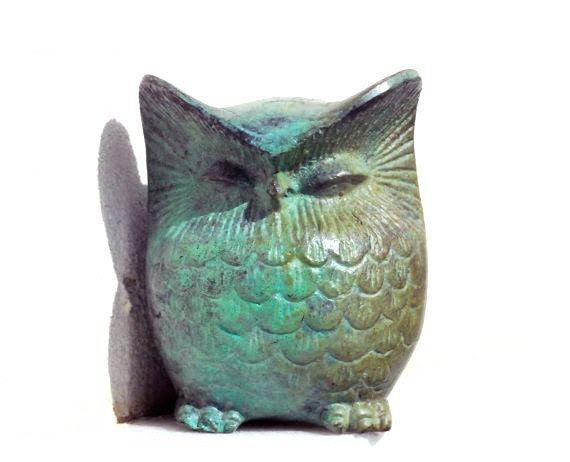 Bronze Owl Verdigris Greek Sculpture -  Big