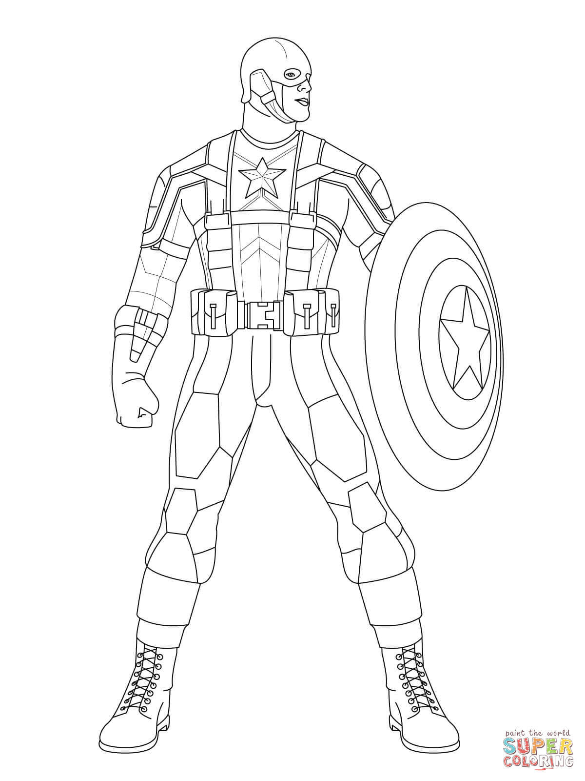 Ausmalbild: Captain America, zum Kampf bereit ...