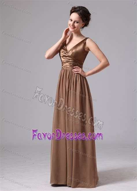 Brown V neck Bridesmaid Dress for Church Wedding in Satin
