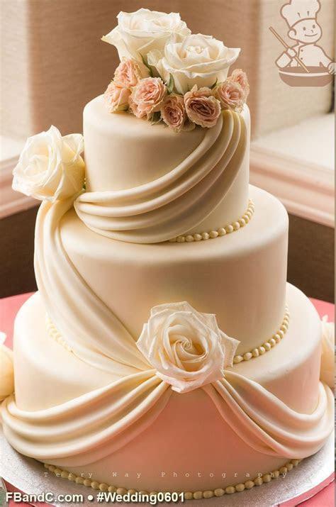 "Design W 0601   White Fondant Wedding Cake   12""  9""  6"