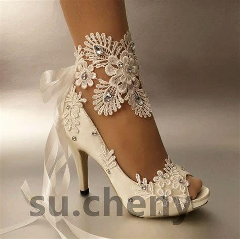 """su.cheny 3"""" 4? heel white ivory satin lace ribbon open toe"""