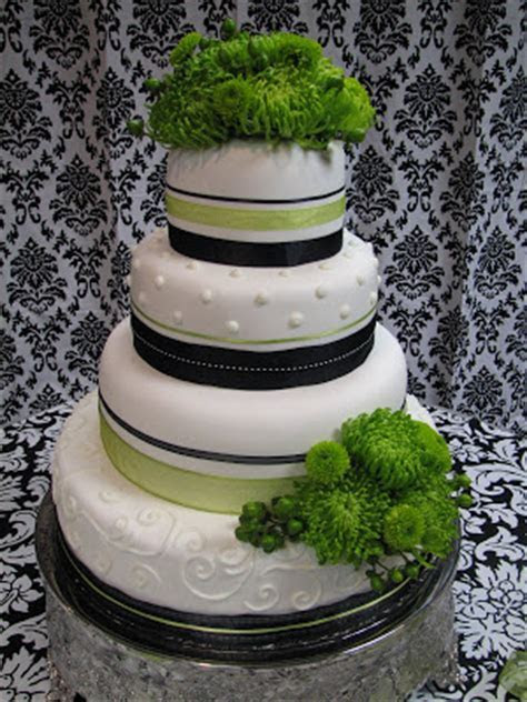 Decadent Designs: Black/White and Apple Green Wedding cake