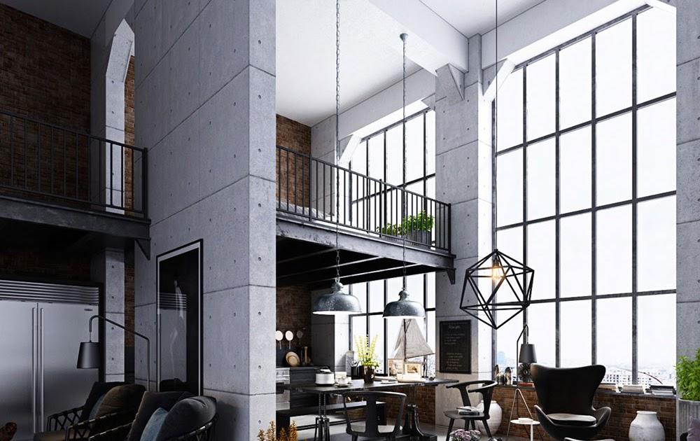 Minimalist Modern High Ceiling Living Room - Living Room ...