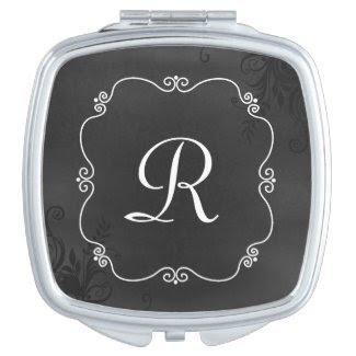 Vintage Chalkboard Look Monogram Compact Mirror