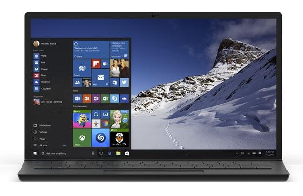 Computador rodando o Windows 10, da Microsoft. (Foto: Divulgação/Microsoft)