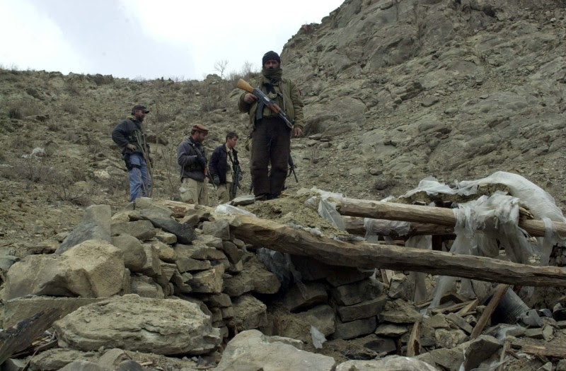 Damaged bunker on a ridge in the eastern Shah-i-Kot valley