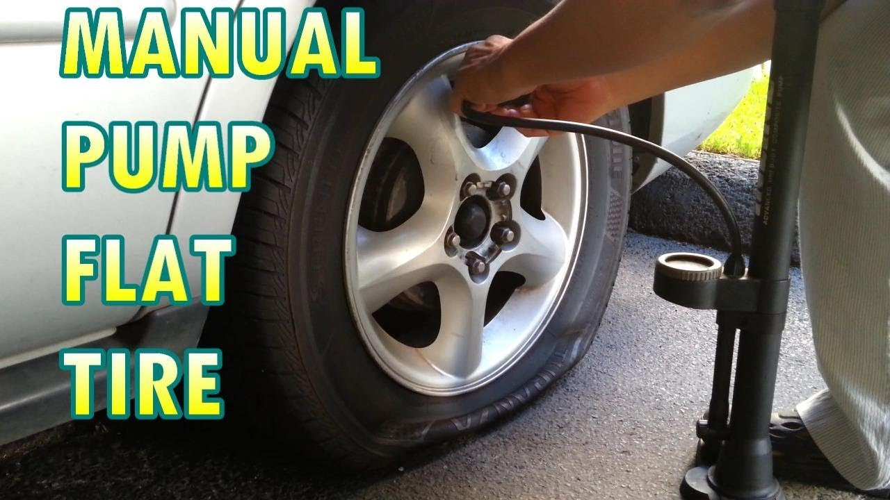 Using A Bicycle Pump To Inflate Flat Car Tire Youtube