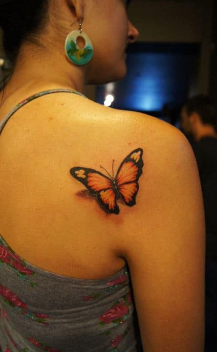 Back Shoulder Colour Butterfly Tattoo Chronic Ink