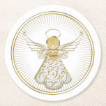 Framed Golden Filigree Christmas Angel of Grace Round Paper Coaster