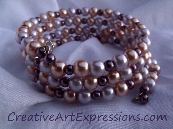 Creative Art Expressions Handmade Lavender & Champagne  Memory Wire Bracelet Jewelry Design