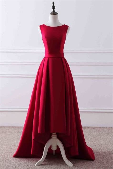 Red matte satin round neck high low train evening dress