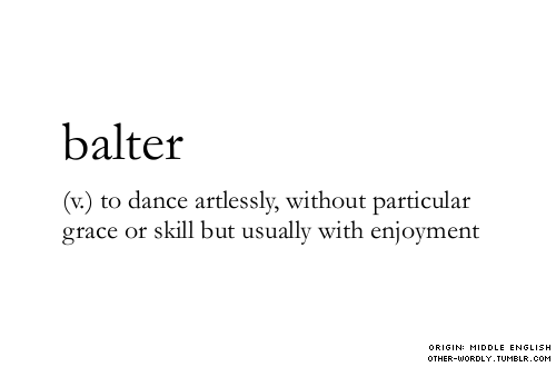 other-wordly:  pronunciation | 'bal-ter(like falter)