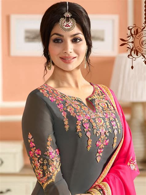 Buy Ayesha Takia grey and pink color party wear salwar