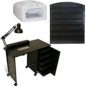 Amazon.com : LCL Beauty Vented Black Manicure Nail Table ...